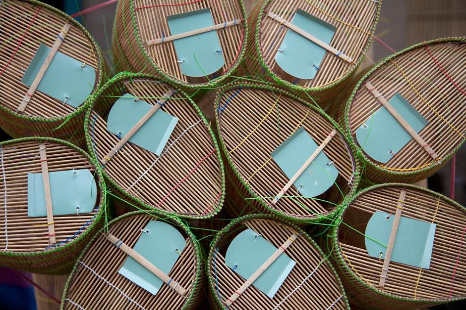 Bamboo Fishing Traps, Mekong Delta, Vinh Long, Vietnam